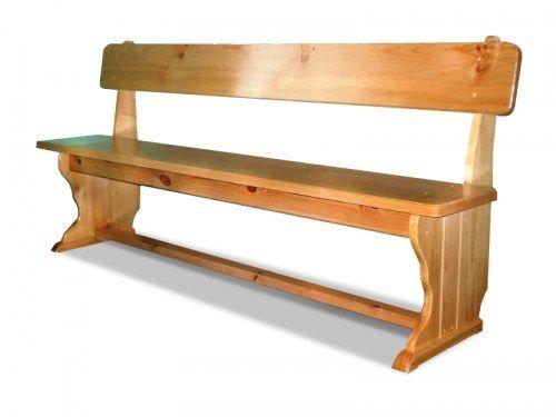 Лавка деревянная со спинкой из массива