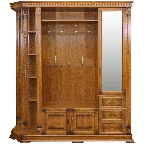 Шкаф открытый угловой для прихожей из массива